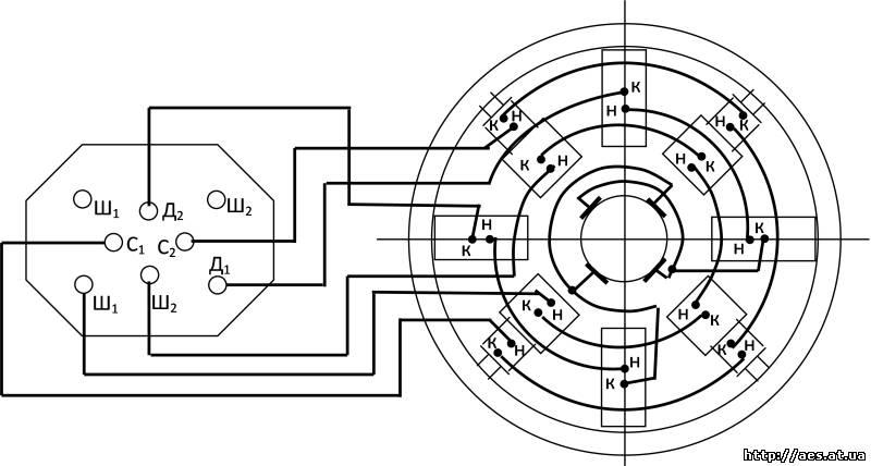 Схема соединение обмоток двигателя постоянного тока