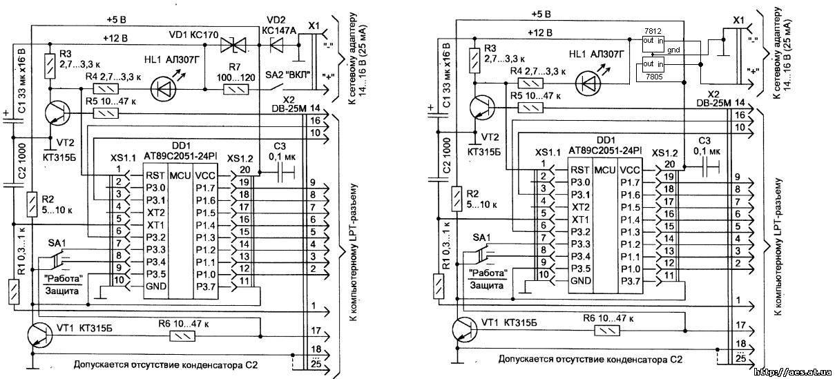 схема программатора at89