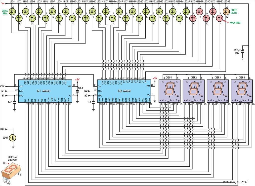 Светодиодный тахометр