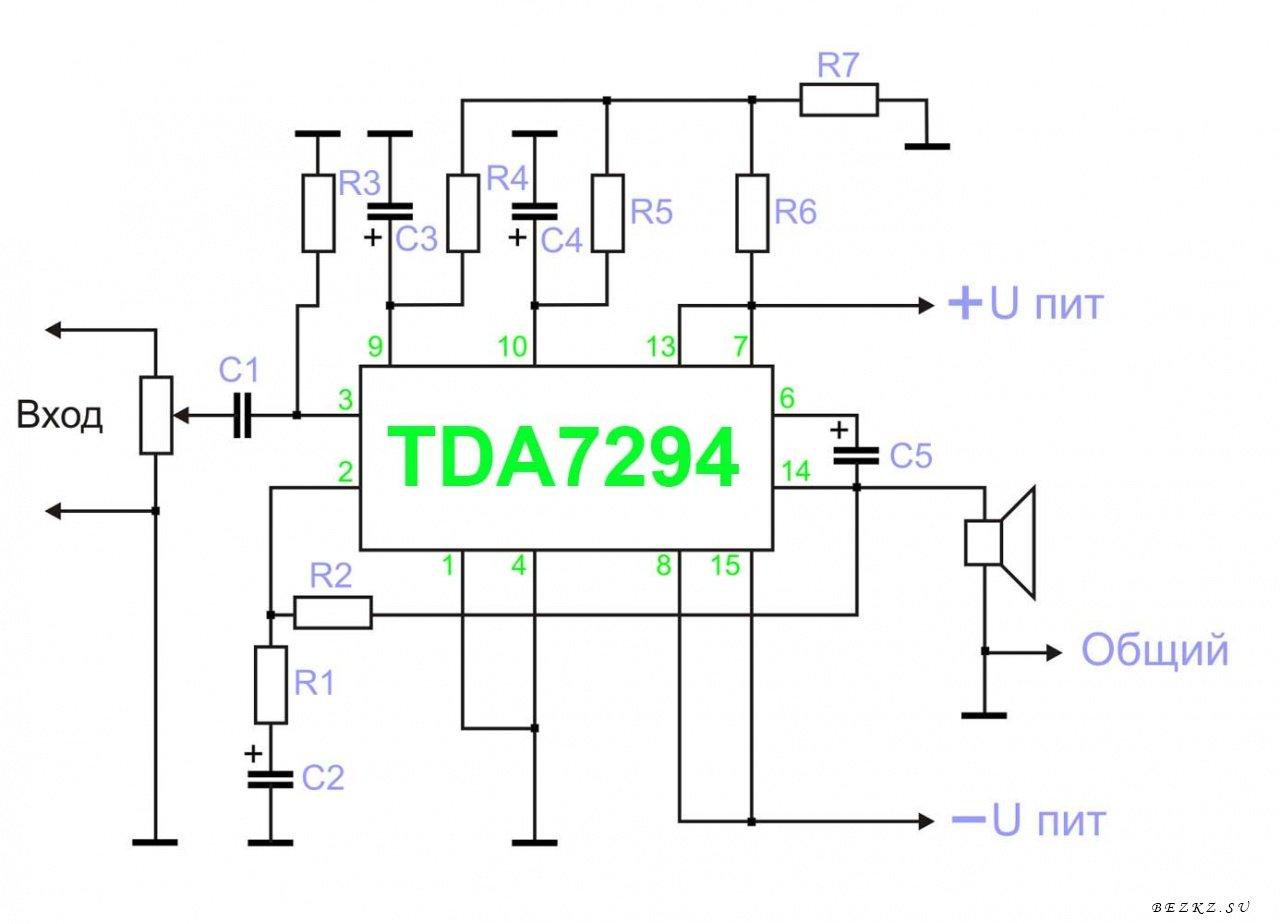 Для сборки усилителя понадобятся следующие детали.  TDA7294 - микросхема усилителя низкой частоты...