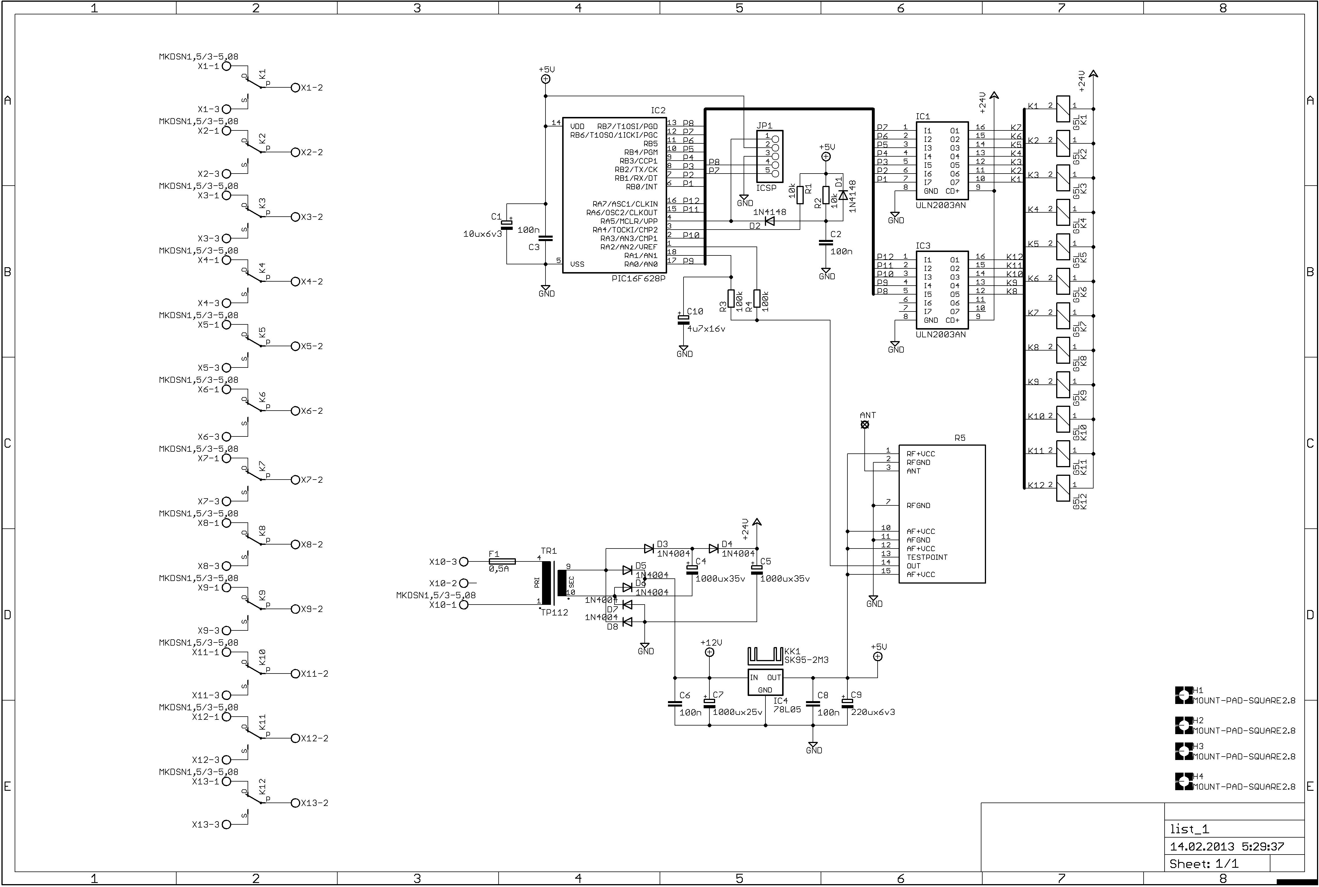 Сердцем устройства является все тот же PIC16F628A.  Коммутация нагрузки производится с помощью реле.